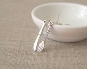 SALE Silver Knife Fork Earrings. Silverware Earrings. Foodie, Cook , Gifts Under 10. Whimsical Jewelry
