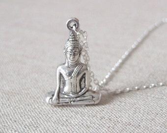 Buddha Necklace.  Antique Silver Buddha. Buddha Pendant. Long Boho Necklace.Om. Ohm.Zen. Boho Yoga Jewelry.