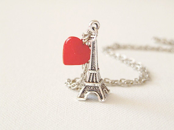 I Love Paris. Eiffel Tower Necklace. I Love You Necklace. Eiffel Pendant. Romance. Paris France. European Travel. Thanksgiving. Under 20