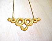 Handmade Recycled Gold Serpent Necklace, Snake Necklace, Egyptian Necklace, Statement Layering Necklace, OOAK Gift for Her