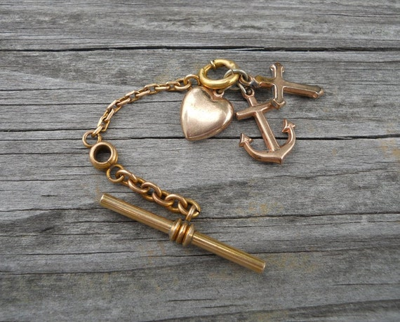 Vintage Watch Fob Chain with Anchor, Heart, and Cross