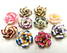 100 Fimo Polymer Clay Pink Fuschia Yellow  Fuschia Red White Flower Rose Fimo Beads 25mm Assorted Colors