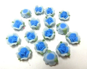 10 Fimo Polymer Clay Blue Flower Fimo Beads 13mm