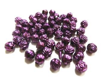 New 25 Rose Flower Metallic Purple Acrylic beads 6mm