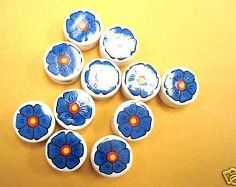 20 Ceramic Blue Flowers  Round Beads