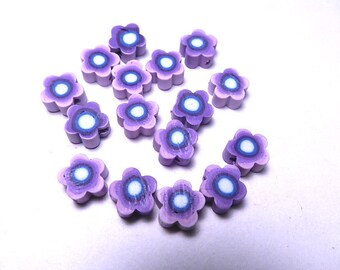 25 9mm Fimo Polymer Clay Flower Shaped Beads Variety Purple Flowers