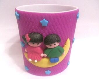 New Handmade Polymer Clay Purple Children Pencil Holder