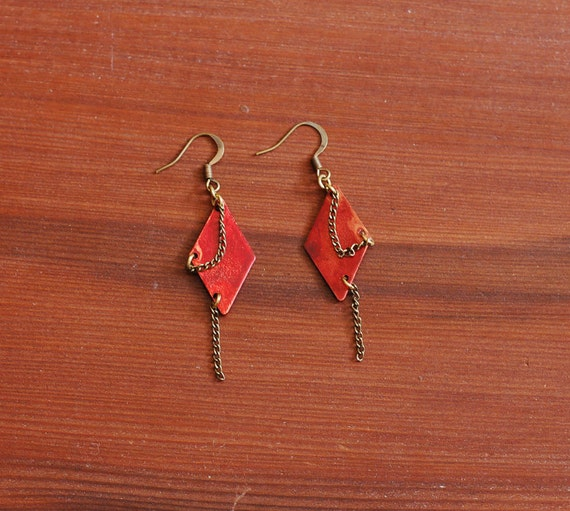 Red Patina Geometric Earrings Diamond Shaped w/ Chains - SALE