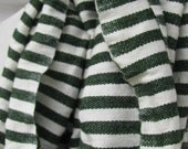 Classic and Modern Cotton Wool Stripe Scarf, Ethiopian Men Women Deep Green Scarf, Stripe Scarf- Deep Green Avocado Green.