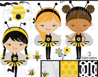 Bee Party Digital Clip Art Set  and digital papers- Personal and Commercial Use Clip Art