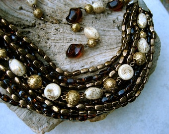 Vintage Hobe Bib Necklace Art Glass Multi Strand Tortoise Shell