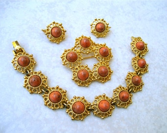 Vintage Signed Lucite Set Terracotta Gold Tone Flowers Sarah Coventry Valencia Parure