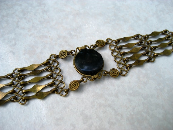 Vintage Ethnic Bracelet Black Stone Brass Spiral Hippie Boho