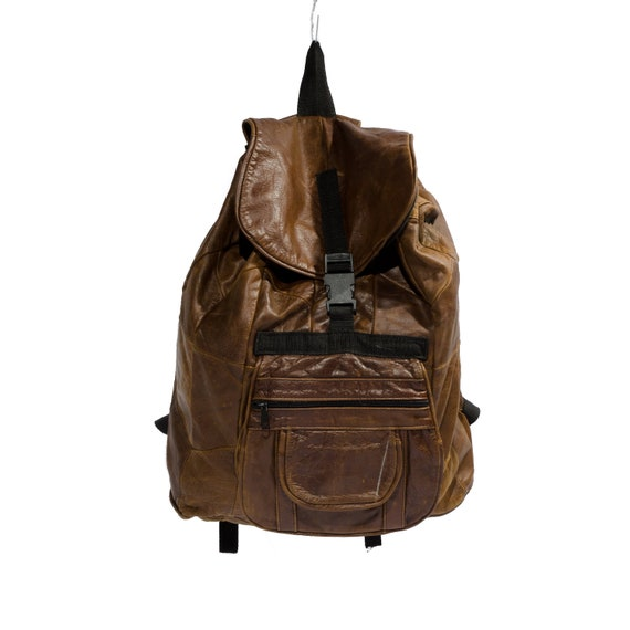 Patchwork Brown Leather Backpack Drawstring Rucksack Knapsack