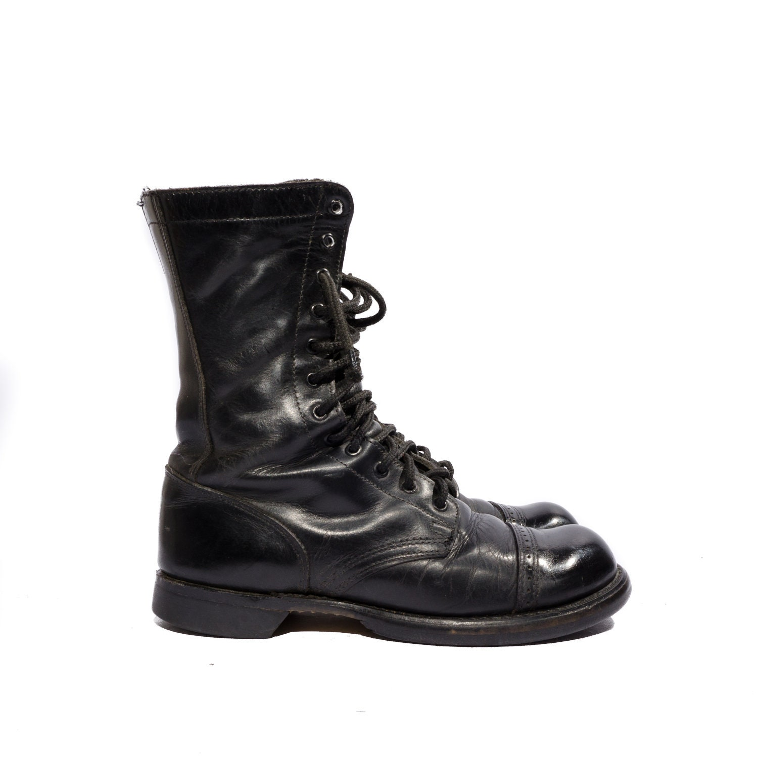 vintage h combat boots black leather jump boot by