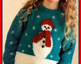 PDF Knitting Pattern for a Childs or Womans Festive Christmas Snowman Sweater - Instant Download