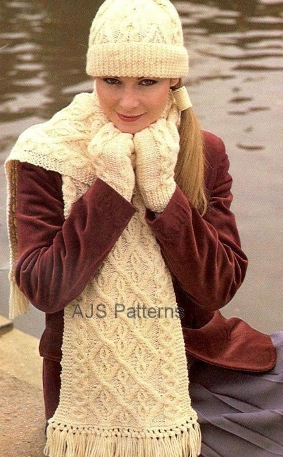 Knitting Pattern For Scarf And Beanie : PDF Knitting Pattern Aran Beanie Hat Mittens by TheKnittingSheep