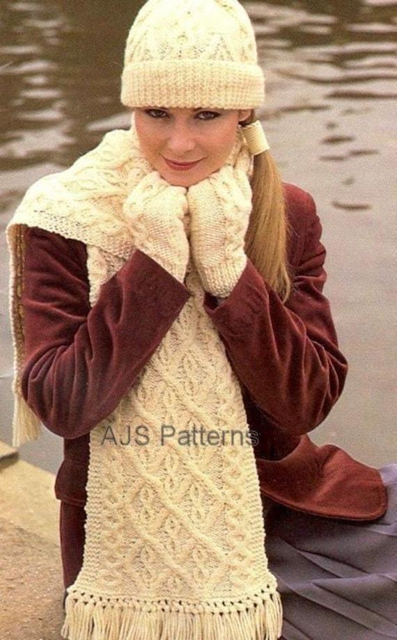PDF Knitting Pattern Aran Beanie Hat Mittens and Scarf Set