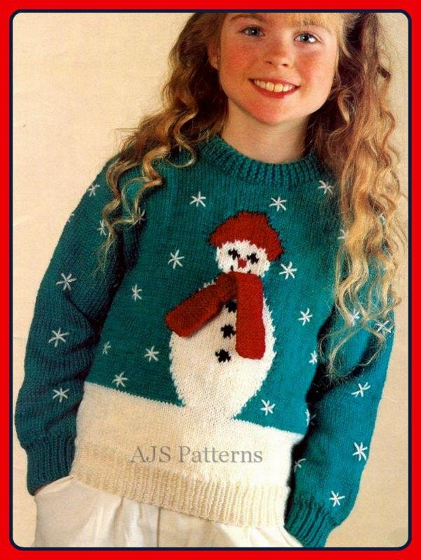 Christmas Jumper Knitting Patterns Uk : Pdf knitting pattern for a childs or womans festive christmas