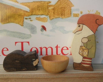 Wood Toy Set Tomten and Cat Story Book Series Waldorf Inspired