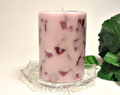 Pomegranate scented pillar candle chunk style 3x4