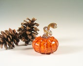 Hand Blown Glass Pumpkin Fall Decorations Golden Caramel Honey Orange Woodland Art Glass Warm Home Decor