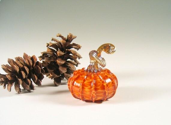 Hand Blown Glass Pumpkin Fall Decorations Golden Caramel Honey Orange Woodland Art Glass Warm Home Decor