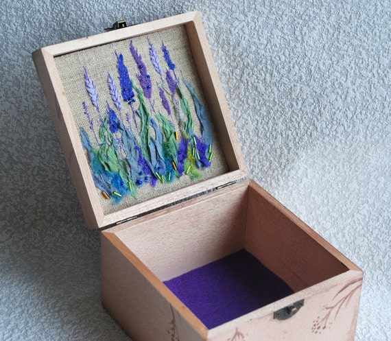 Reserved for Jenny .....Personalized Wooden Jewelry Box-Keepsake Box with Lavender  flower embroidery.