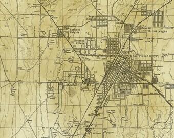 Vintage Map - Las Vegas, Nevada 1951
