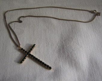 Vintage Cross Necklace Green Rhinestones
