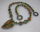 Unakite and brass autumn leaf necklace