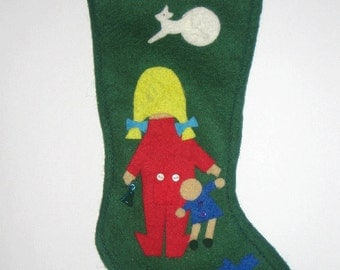 Christmas Stocking with Little Girl