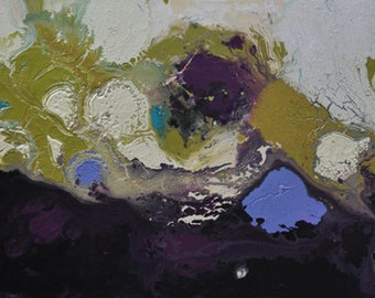 large abstract painting in lime, purple, turquoise, lavender, teal, and beige - Peaceful Meditation
