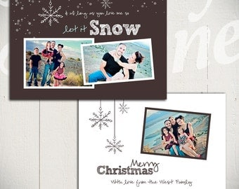 Christmas Card Template: Let It Snow A - 5x7 Holiday Card Template for Photographers