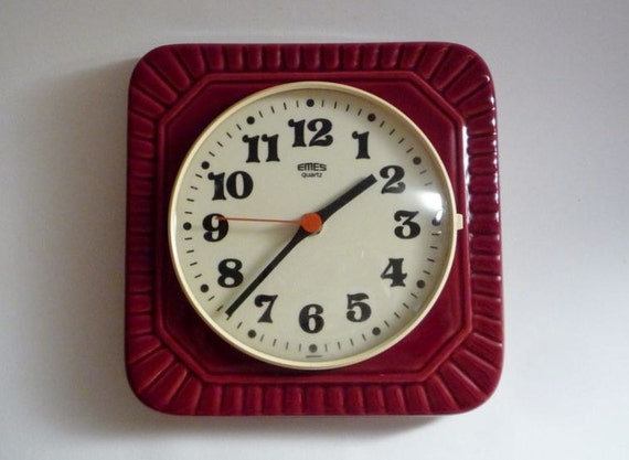 Vintage German Ceramic Wall Clock from Emes