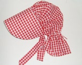 Girls Prairie Sunbonnet -  Red and White Gingham