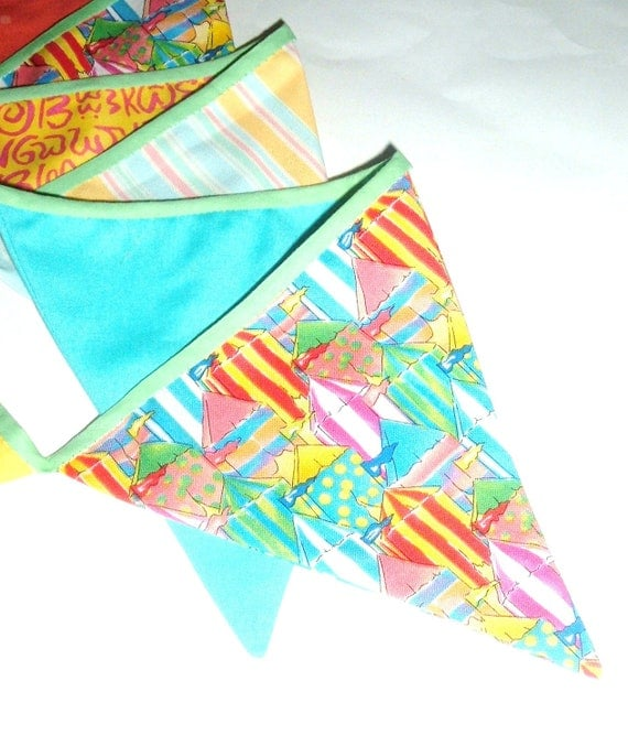 Pool Party Bunting - Birthday Party Bunting - 12 Flags - Bright Colors