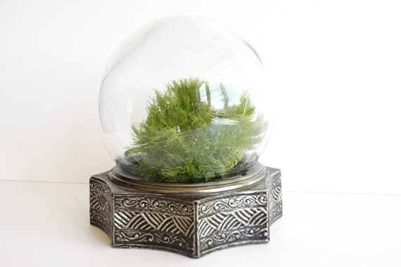 Vintage Glass Globe Flower Aquarium / Terrarium with Metal Base - Looks like a crystal ball