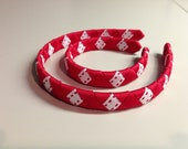 Doll and Me Red and White woven headband set
