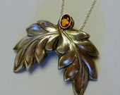 Handcrafted Fine Silver .999 PMC Pendant with Natural, Untreated Spessartite Garnet Gemstone