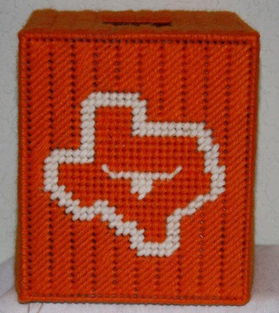 3235AB Texas Orange & White Tissue Box Cover