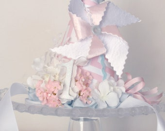 Girl's Shabby Chic Pinwheel Birthday Party Hat, Special Occasion, Photo Prop