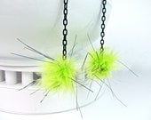 "poofter earrings, lime green feather poof balls, black chain, silver tone fish hook ear wires, approx 6"" long, free u.s. shipping"