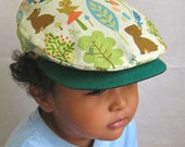 Green forest animals - Reversible driver's cap for kids with hand sewn applique (Kids 5 sizes)