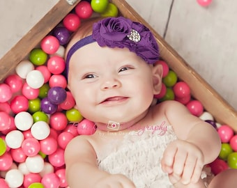 Baby Headband..Baby Flower Headband..Purple Headband for Baby Girl..Baby Girl Purple Headband..Rhinestones
