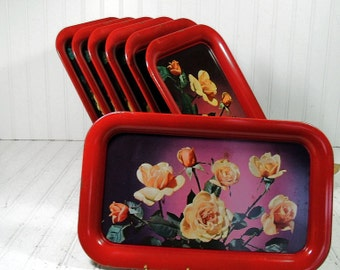 Vintage Red Metal Trays Set of 7 with Early Litho Printed Roses Photo Design - Shabby Chic BoHo Bistro Bakery Display Group of 7 Snack Trays