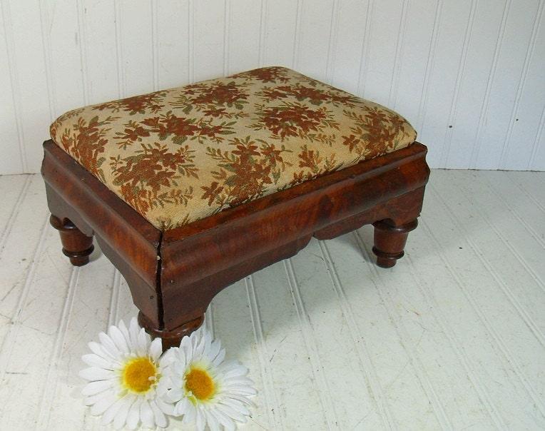 Vintage Funky Upholstered Wooden Footstool Primitive