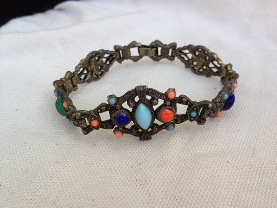 Vintage multi color bead revival style bracelet boho chic