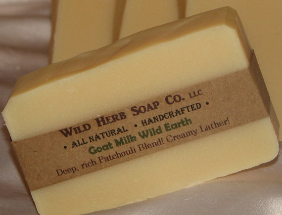 Goats Milk NATURAL Soap - Extreme Moisturizing  - PATCHOULI Essential OIL Blend (Wild Earth Scent) Cold Process Soap from Scratch