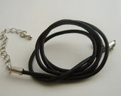 One Black Leather Cord Necklace 17 to 19 inches